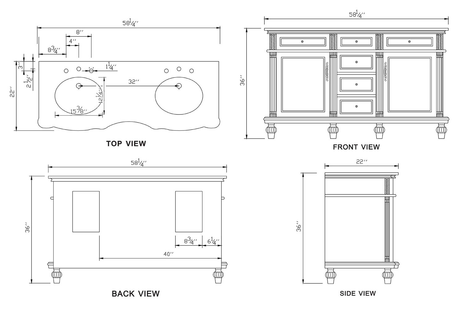 58inch Nicolas Vanity Top Choices