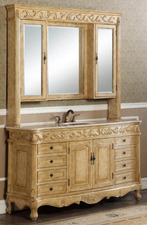 60-Inch Antique Style Single Sink Bathroom Vanity with Mirrored Hutch in Antique beige Cabinet Color Finish.